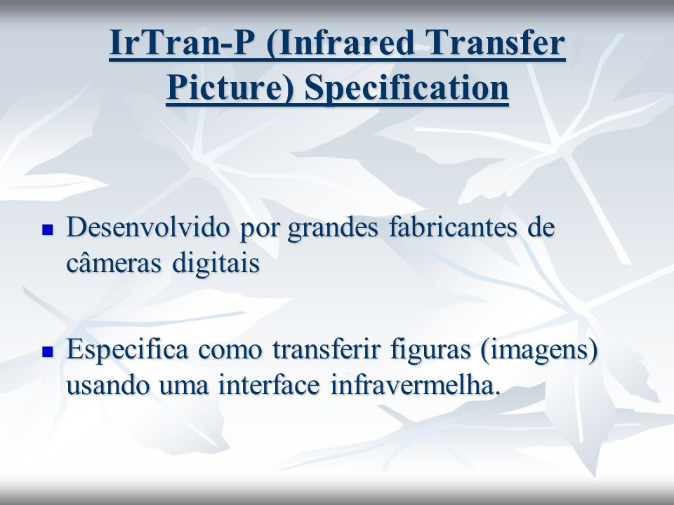 IrTran-P (Infrared Transfer Picture) Specification