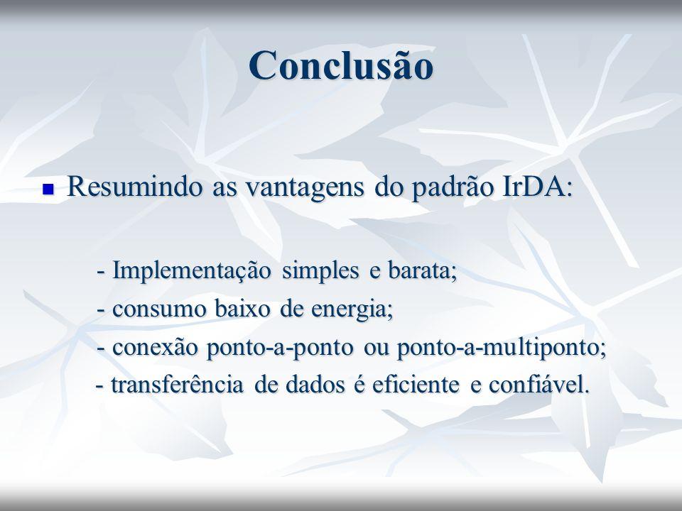 Conclusão Resumindo as vantagens do padrão IrDA: