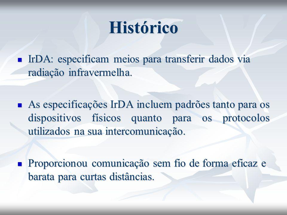 Histórico IrDA: especificam meios para transferir dados via radiação infravermelha.
