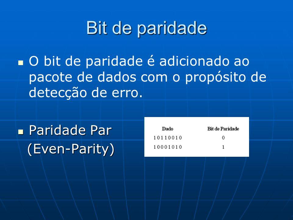 Bit de paridade O bit de paridade é adicionado ao pacote de dados com o propósito de detecção de erro.