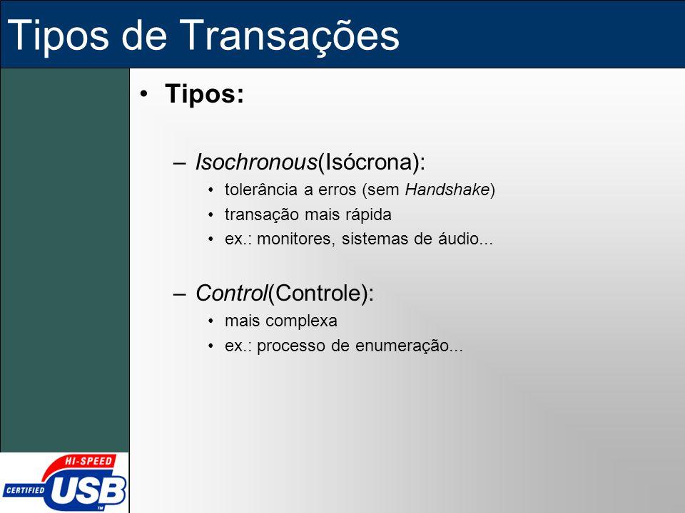 Tipos de Transações Tipos: Isochronous(Isócrona): Control(Controle):