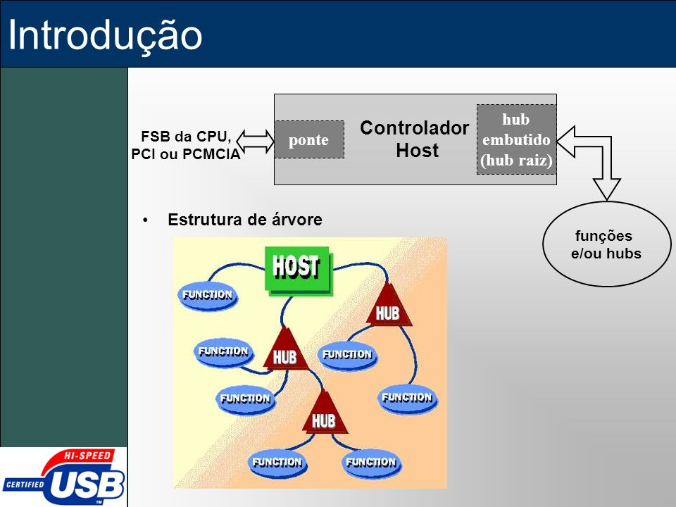 Introdução Controlador Host hub embutido ponte (hub raiz)
