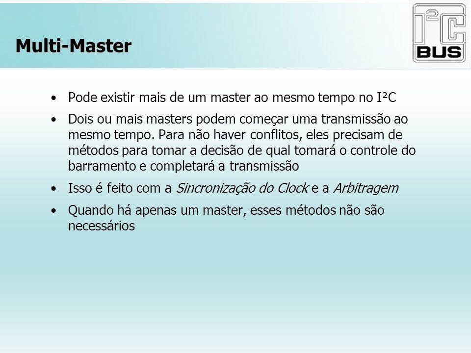 Multi-Master Pode existir mais de um master ao mesmo tempo no I²C