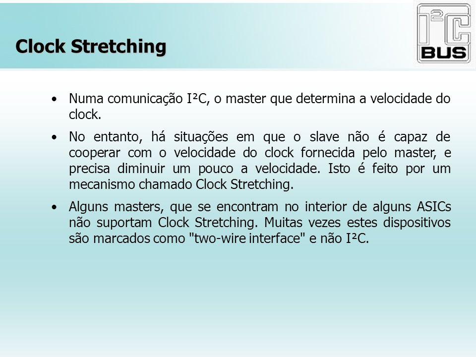 Clock Stretching Numa comunicação I²C, o master que determina a velocidade do clock.