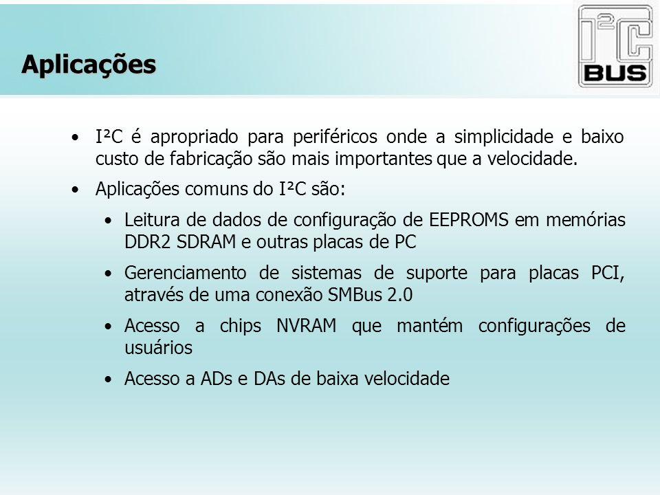 Aplicações I²C é apropriado para periféricos onde a simplicidade e baixo custo de fabricação são mais importantes que a velocidade.