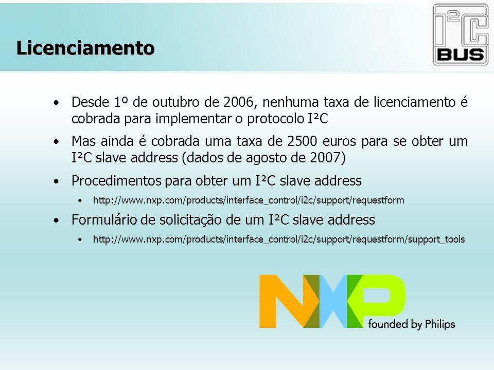 Licenciamento Desde 1º de outubro de 2006, nenhuma taxa de licenciamento é cobrada para implementar o protocolo I²C.