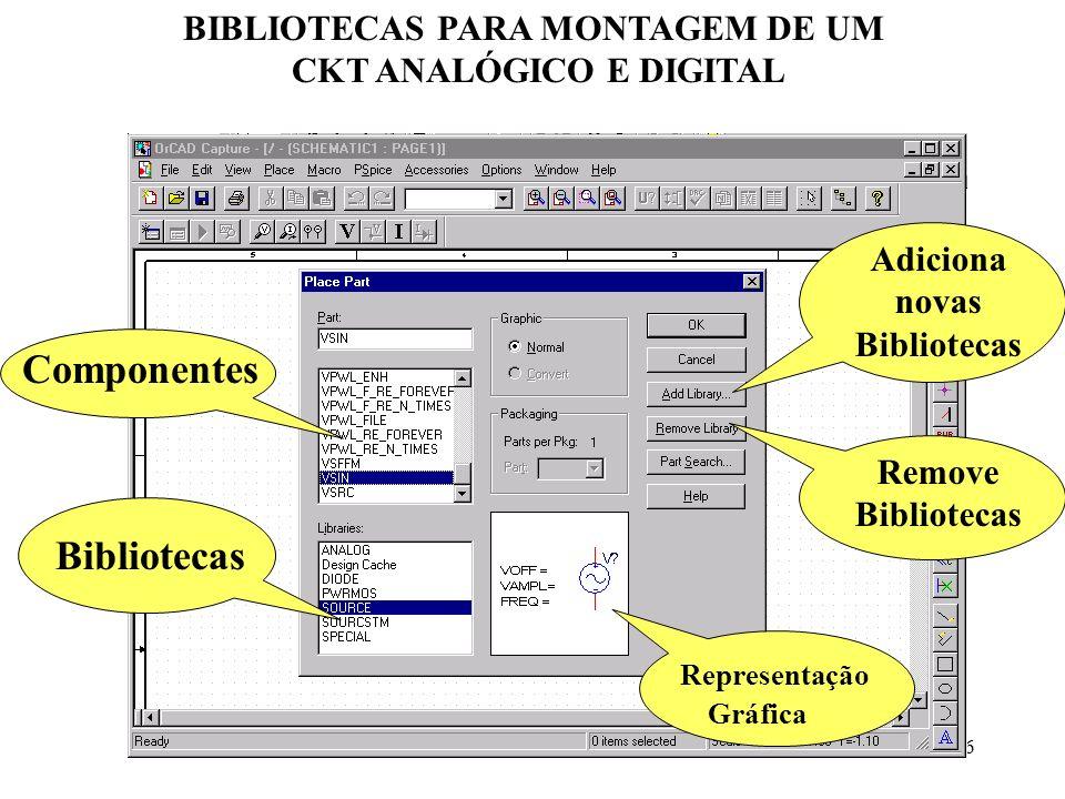 BIBLIOTECAS PARA MONTAGEM DE UM CKT ANALÓGICO E DIGITAL