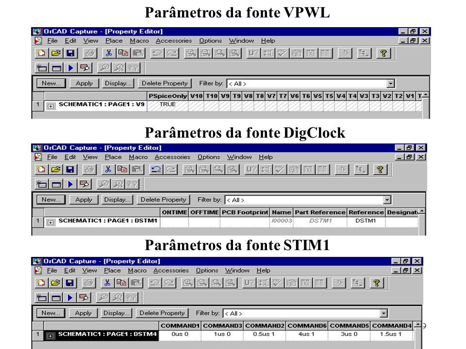 Parâmetros da fonte VPWL