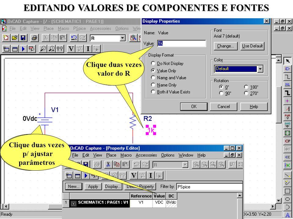 EDITANDO VALORES DE COMPONENTES E FONTES