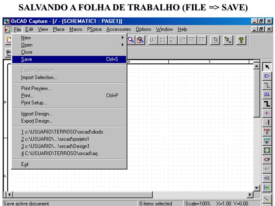 SALVANDO A FOLHA DE TRABALHO (FILE => SAVE)