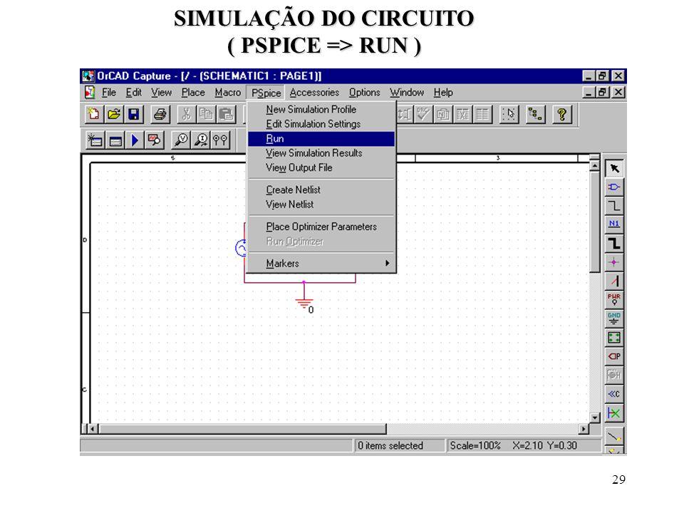 SIMULAÇÃO DO CIRCUITO ( PSPICE => RUN )