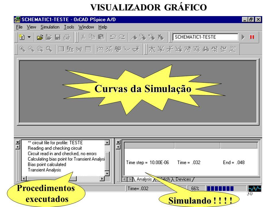 Curvas da Simulação VISUALIZADOR GRÁFICO Procedimentos executados