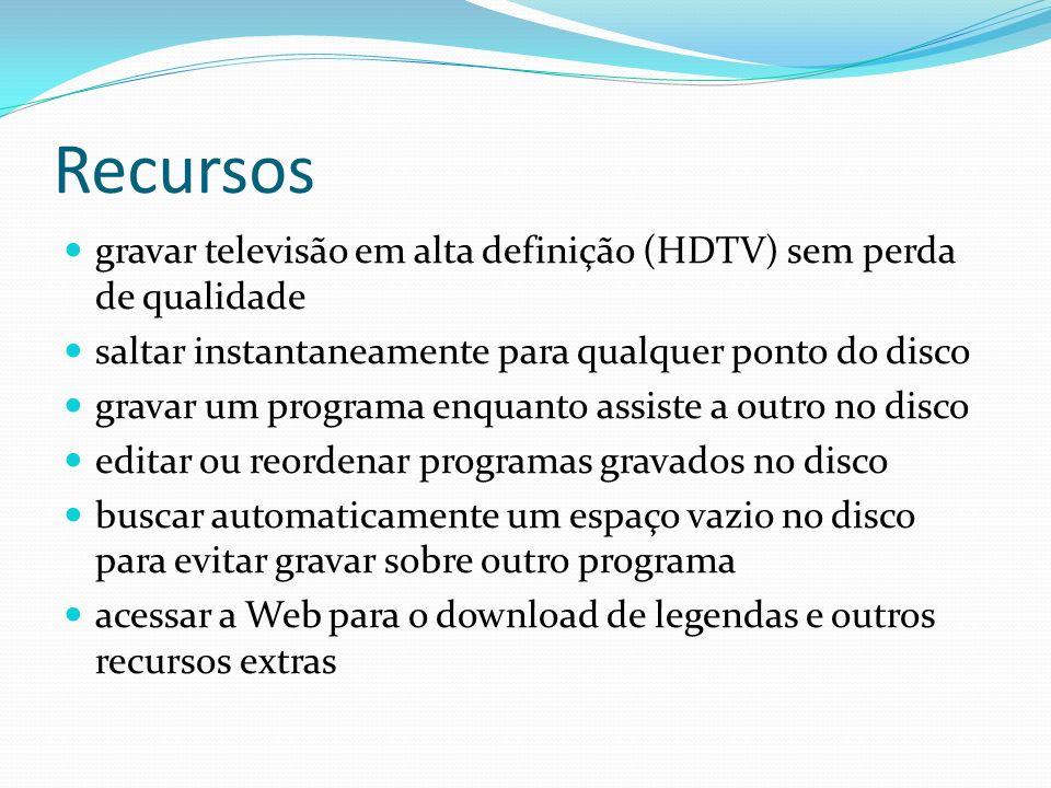Recursos gravar televisão em alta definição (HDTV) sem perda de qualidade. saltar instantaneamente para qualquer ponto do disco.