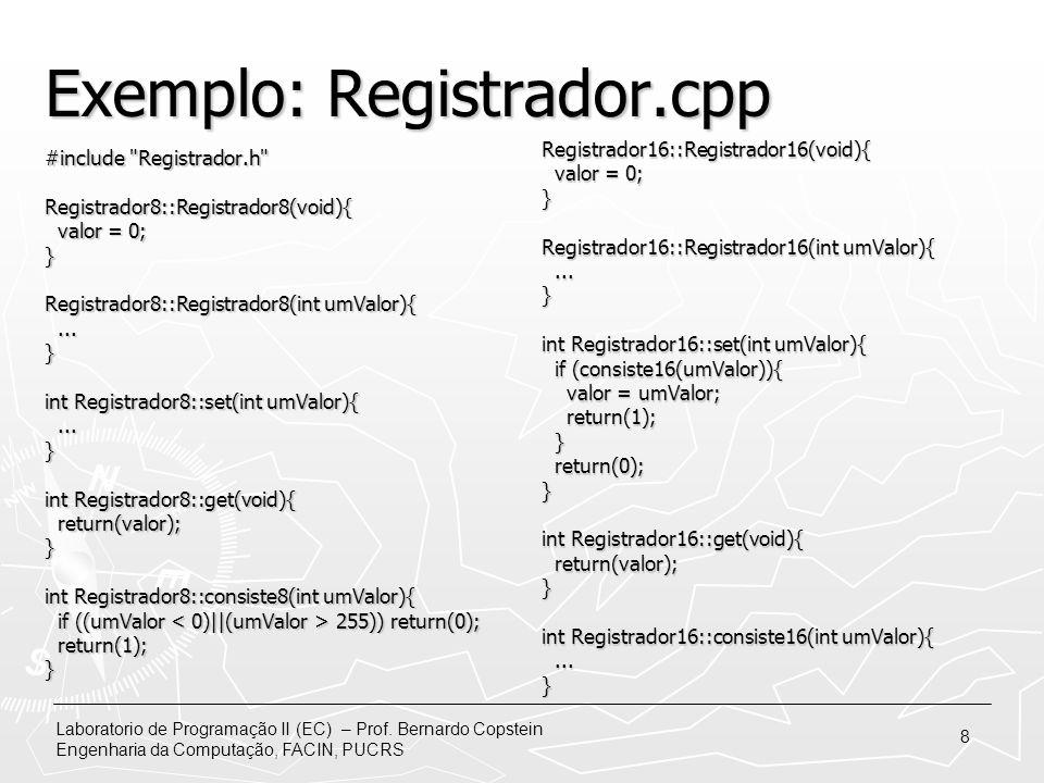 Exemplo: Registrador.cpp