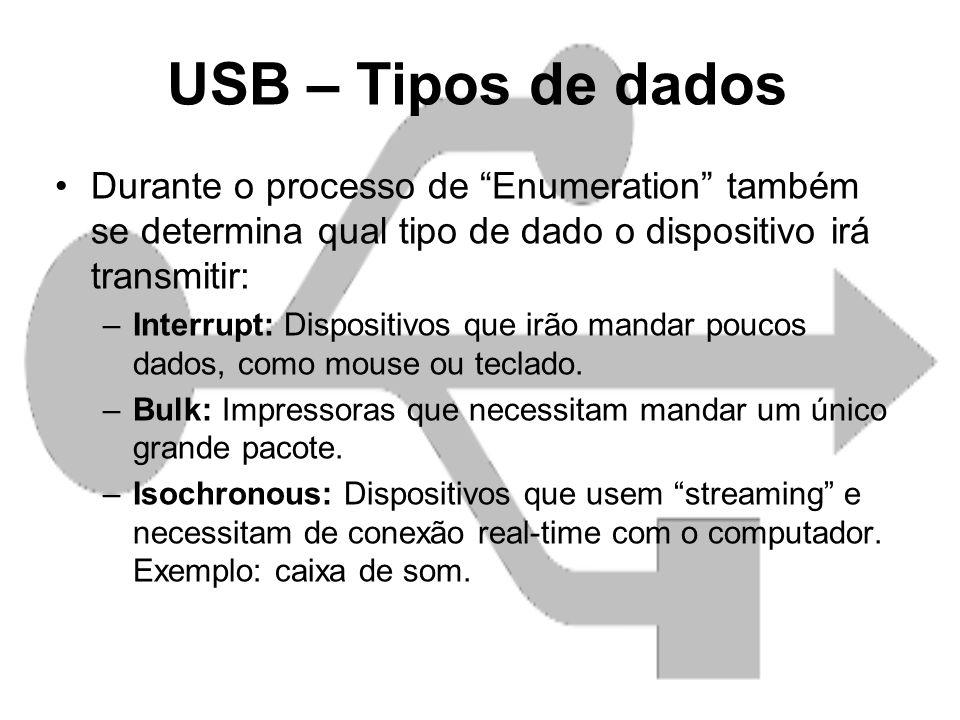 USB – Tipos de dados Durante o processo de Enumeration também se determina qual tipo de dado o dispositivo irá transmitir: