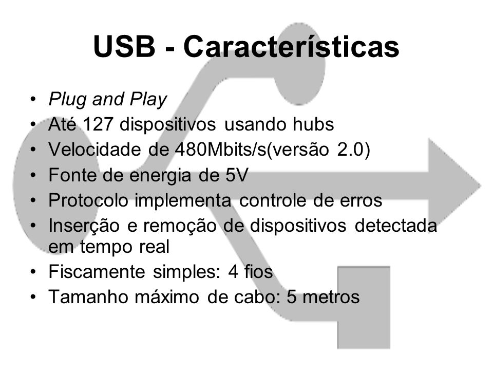 USB - Características Plug and Play Até 127 dispositivos usando hubs