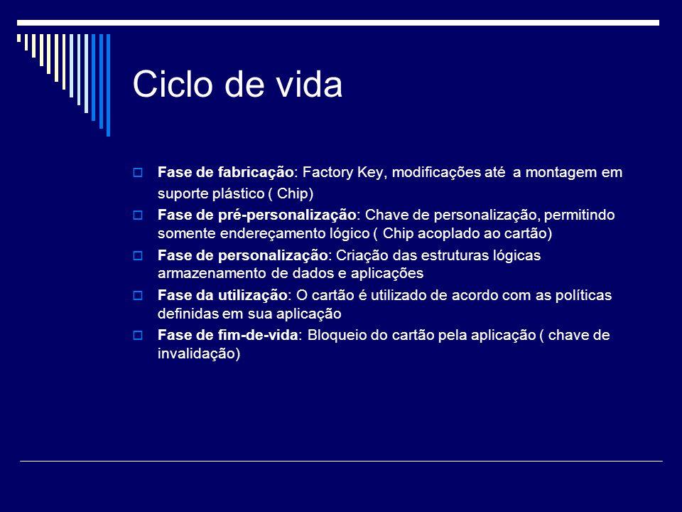 Ciclo de vida Fase de fabricação: Factory Key, modificações até a montagem em suporte plástico ( Chip)