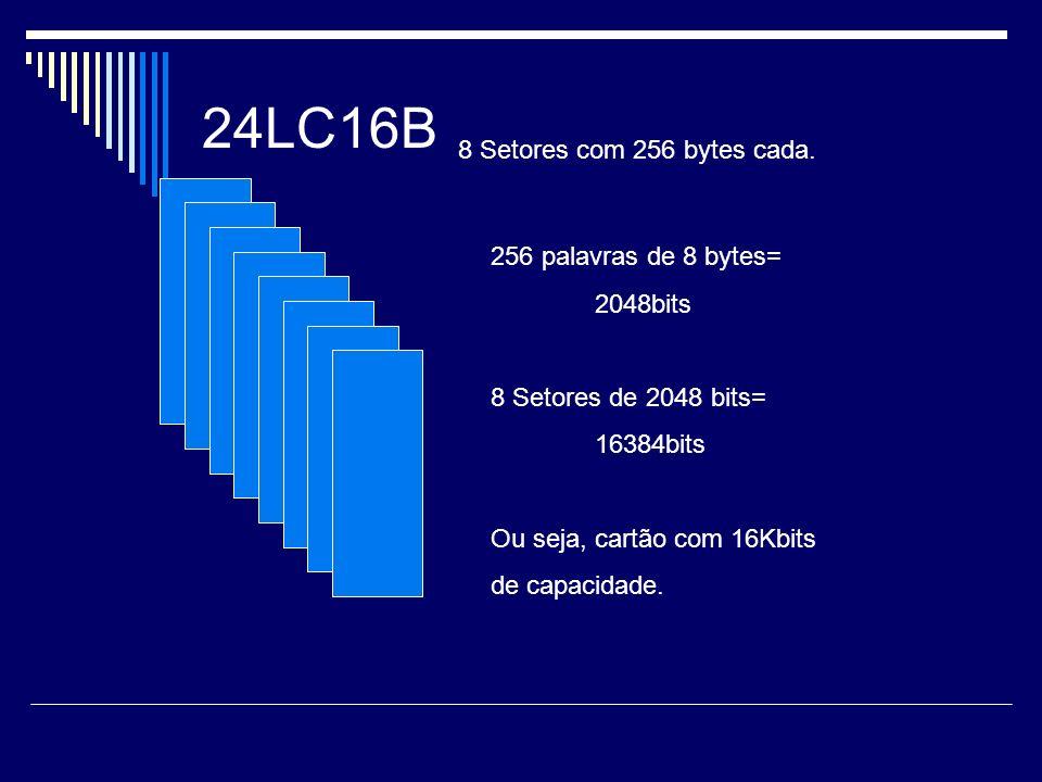24LC16B 8 Setores com 256 bytes cada. 256 palavras de 8 bytes=