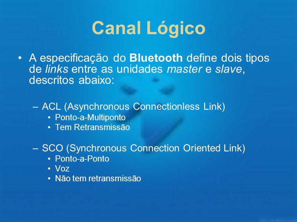 Canal LógicoA especificação do Bluetooth define dois tipos de links entre as unidades master e slave, descritos abaixo: