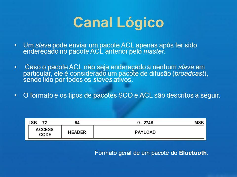 Canal Lógico Um slave pode enviar um pacote ACL apenas após ter sido endereçado no pacote ACL anterior pelo master.