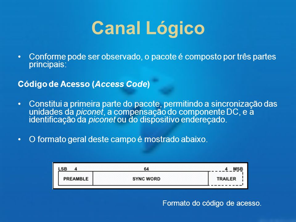 Canal LógicoConforme pode ser observado, o pacote é composto por três partes principais: Código de Acesso (Access Code)