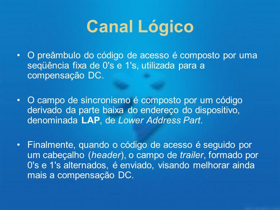 Canal Lógico O preâmbulo do código de acesso é composto por uma seqüência fixa de 0 s e 1 s, utilizada para a compensação DC.