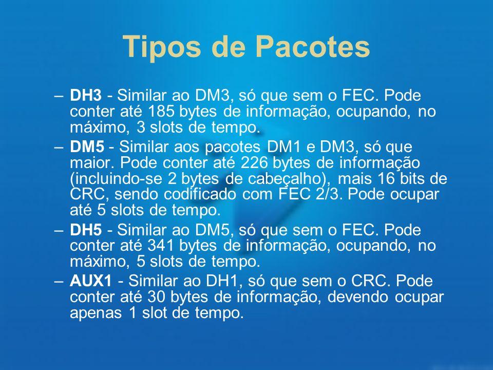 Tipos de PacotesDH3 - Similar ao DM3, só que sem o FEC. Pode conter até 185 bytes de informação, ocupando, no máximo, 3 slots de tempo.