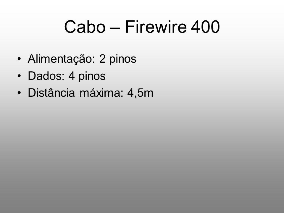 Cabo – Firewire 400 Alimentação: 2 pinos Dados: 4 pinos