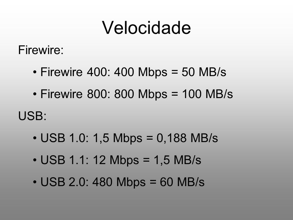 Velocidade Firewire: Firewire 400: 400 Mbps = 50 MB/s
