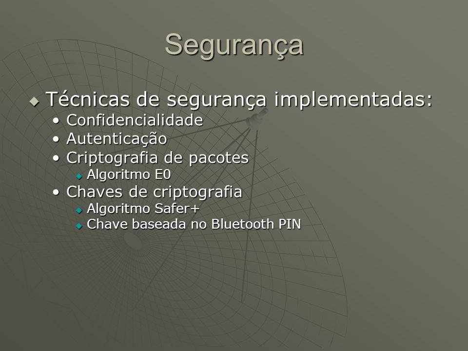 Segurança Técnicas de segurança implementadas: Confidencialidade