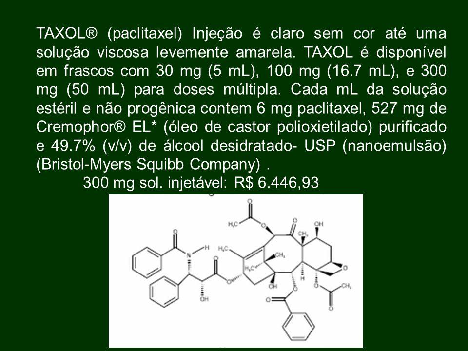 TAXOL® (paclitaxel) Injeção é claro sem cor até uma solução viscosa levemente amarela. TAXOL é disponível em frascos com 30 mg (5 mL), 100 mg (16.7 mL), e 300 mg (50 mL) para doses múltipla. Cada mL da solução estéril e não progênica contem 6 mg paclitaxel, 527 mg de Cremophor® EL* (óleo de castor polioxietilado) purificado e 49.7% (v/v) de álcool desidratado- USP (nanoemulsão) (Bristol-Myers Squibb Company) .