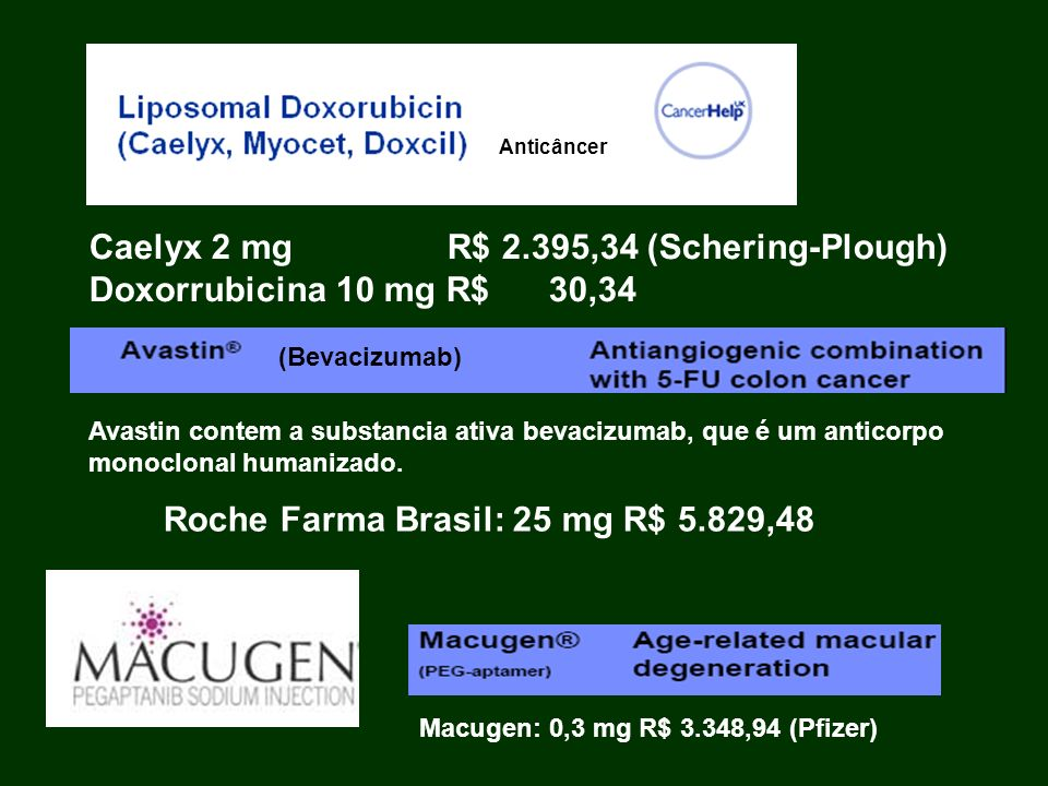 Caelyx 2 mg R$ 2.395,34 (Schering-Plough) Doxorrubicina 10 mg R$ 30,34