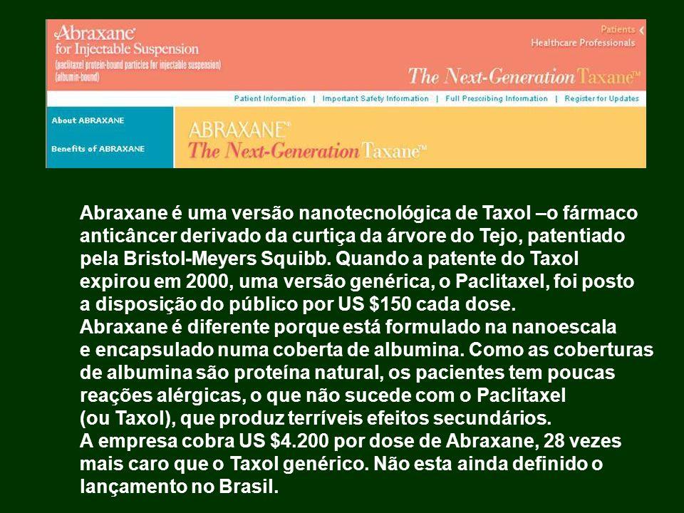 Abraxane é uma versão nanotecnológica de Taxol –o fármaco
