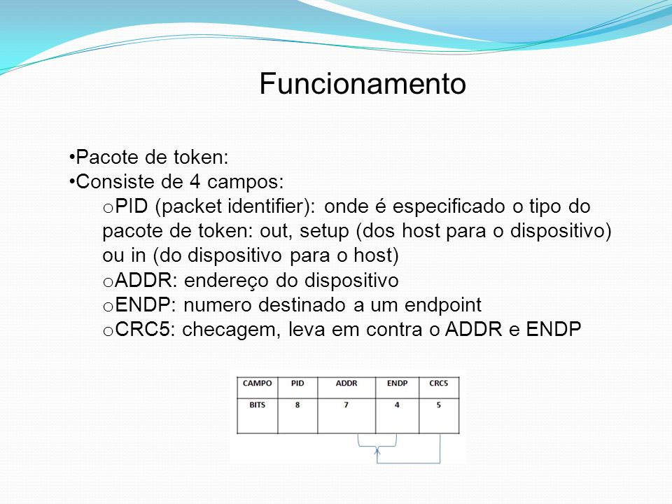 Funcionamento Pacote de token: Consiste de 4 campos: