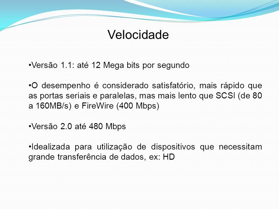 Velocidade Versão 1.1: até 12 Mega bits por segundo
