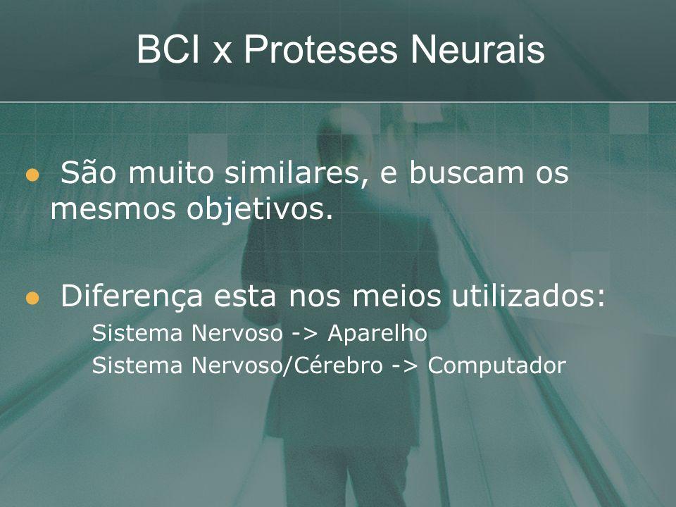 BCI x Proteses Neurais São muito similares, e buscam os mesmos objetivos. Diferença esta nos meios utilizados: