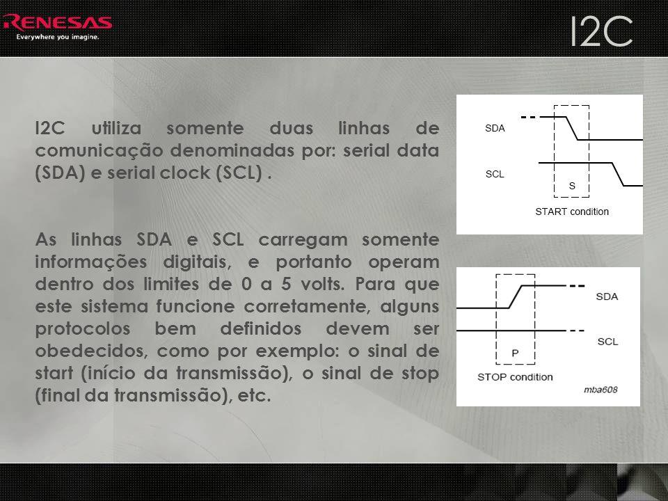 I2C I2C utiliza somente duas linhas de comunicação denominadas por: serial data (SDA) e serial clock (SCL) .