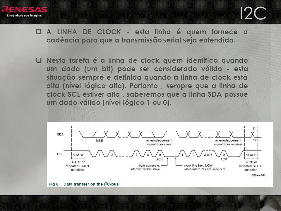 I2C A LINHA DE CLOCK - esta linha é quem fornece a cadência para que a transmissão serial seja entendida.