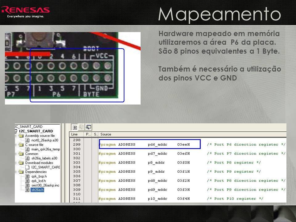 Mapeamento Hardware mapeado em memória utilizaremos a área P6 da placa. São 8 pinos equivalentes a 1 Byte.