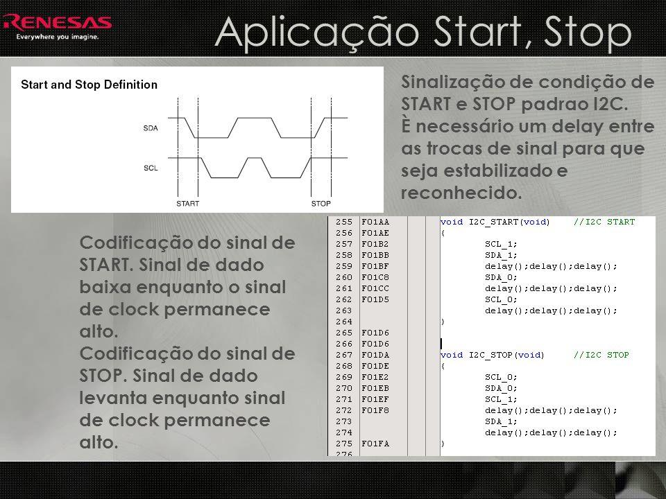 Aplicação Start, Stop Sinalização de condição de START e STOP padrao I2C.