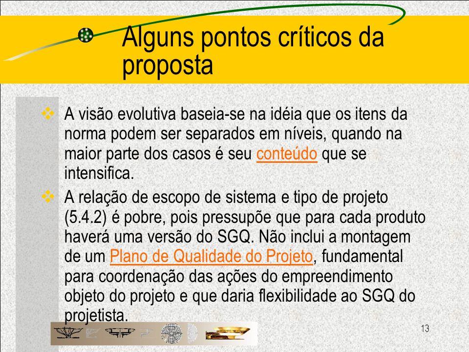 Alguns pontos críticos da proposta