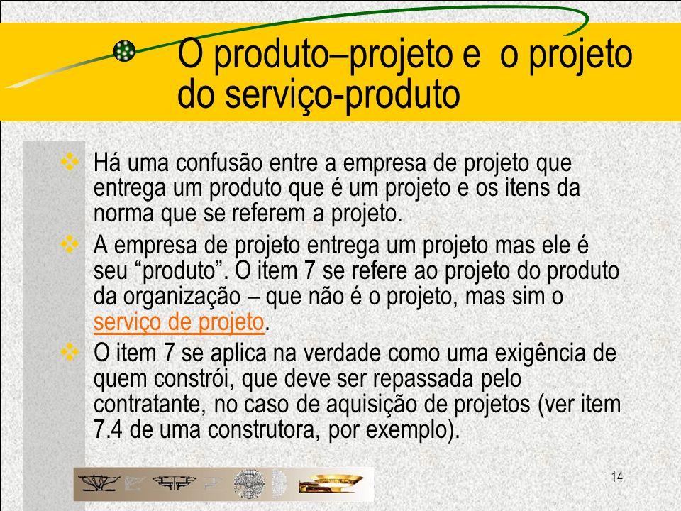 O produto–projeto e o projeto do serviço-produto