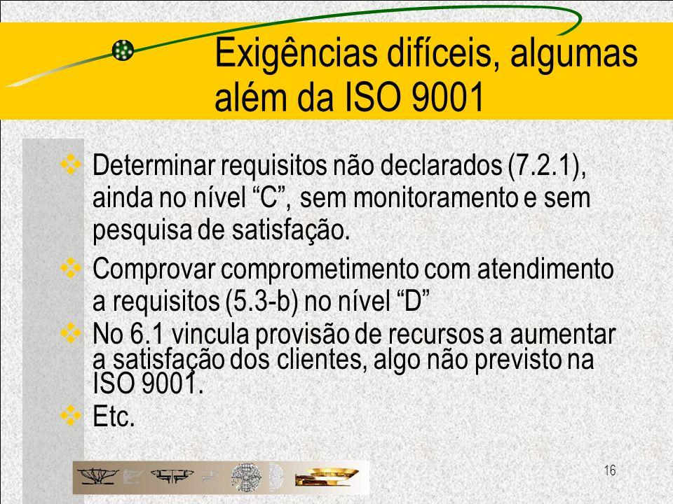 Exigências difíceis, algumas além da ISO 9001