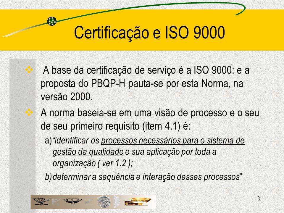 Certificação e ISO 9000 A base da certificação de serviço é a ISO 9000: e a proposta do PBQP-H pauta-se por esta Norma, na versão 2000.