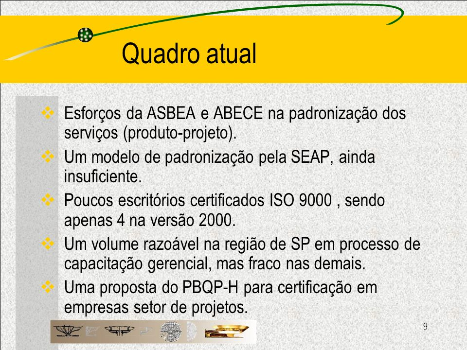 Quadro atual Esforços da ASBEA e ABECE na padronização dos serviços (produto-projeto). Um modelo de padronização pela SEAP, ainda insuficiente.