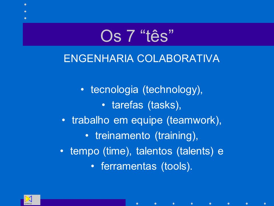 Os 7 tês ENGENHARIA COLABORATIVA tecnologia (technology),