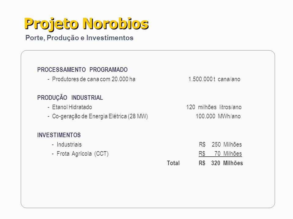 Projeto Norobios Porte, Produção e Investimentos