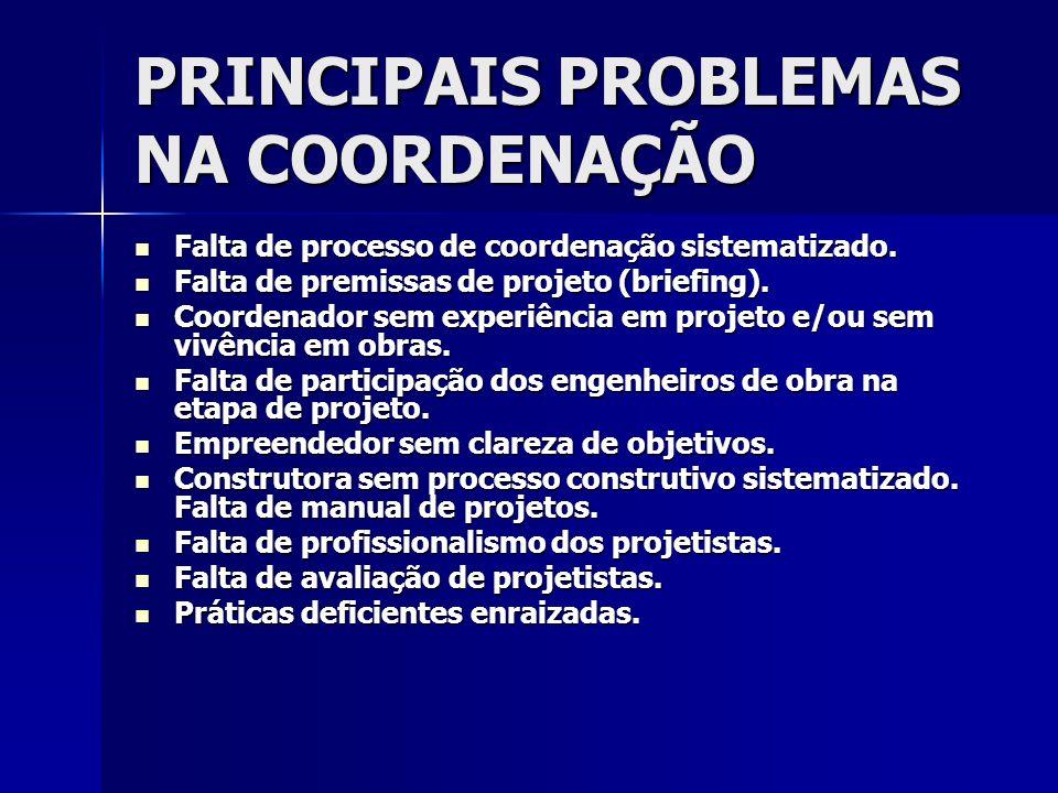 PRINCIPAIS PROBLEMAS NA COORDENAÇÃO
