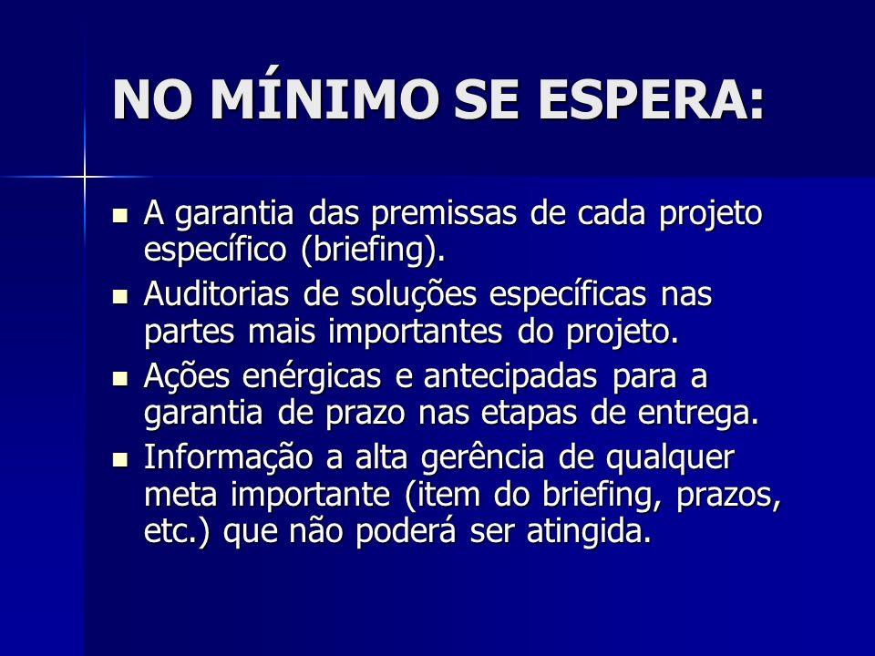 NO MÍNIMO SE ESPERA: A garantia das premissas de cada projeto específico (briefing).