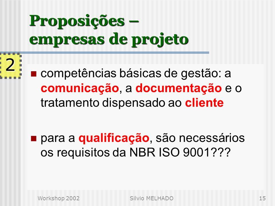 Proposições – empresas de projeto